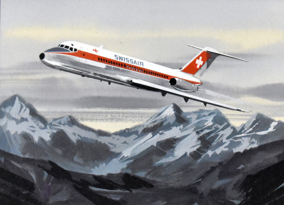 Otto Kuhni Artwork - Aviation - Swissair