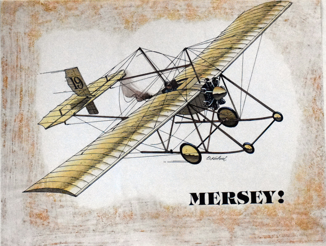 Otto Kuhni Artwork - Hand Drawing - Airplane Mersey!