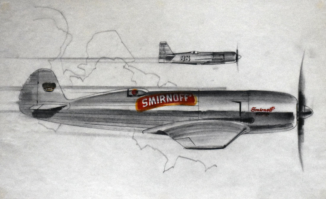 Otto Kuhni Artwork - Hand Drawings - Airplane Smirnoff