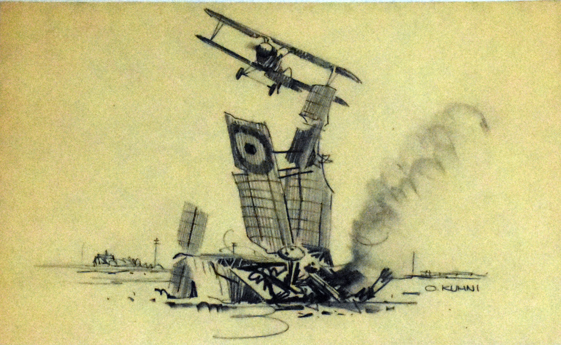 Otto Kuhni Artwork - Hand Drawing - Airplane Crash