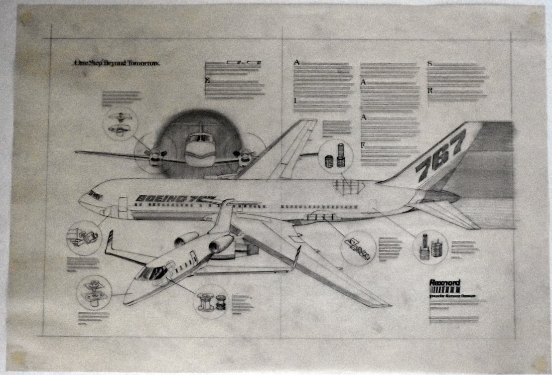 Otto Kuhni Artwork - Hand Drawings - Boeing 787