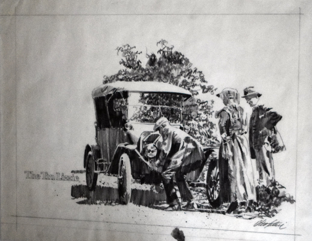 Otto Kuhni Artwork - Hand Drawings - Car with Three People