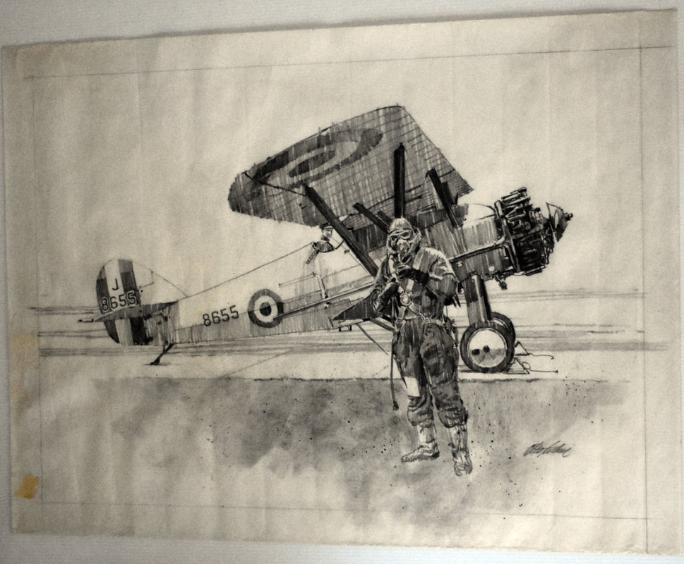Otto Kuhni Artwork - Hand Drawing - Plane and Pilot
