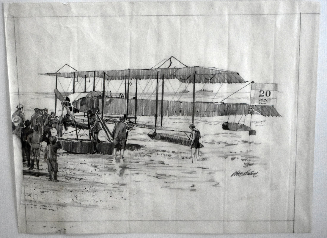 Otto Kuhni Artwork - Hand Drawings - Plane and the Sea