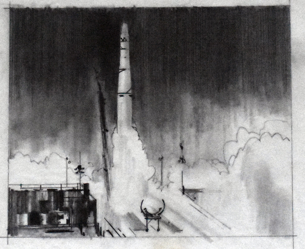 Otto Kuhni Artwork - Hand Drawing - Rocket Launch Close-Up