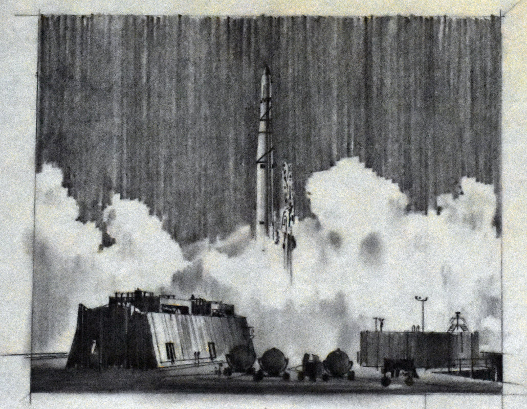 Otto Kuhni Artwork - Hand Drawing - Rocket Launch from Far