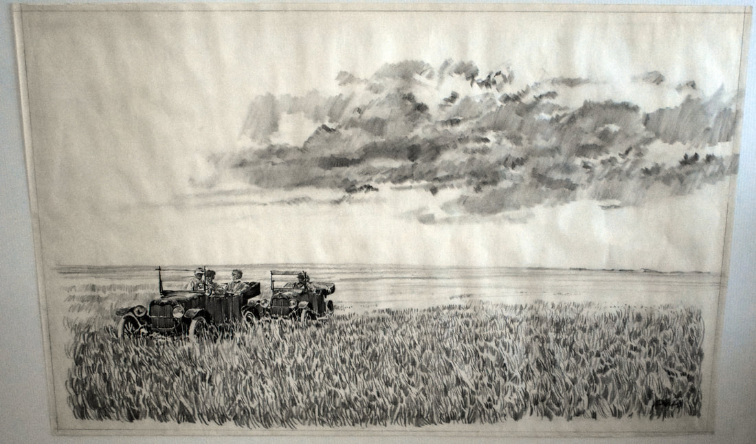 Otto Kuhni Artwork - Hand Drawings - Car in a Field