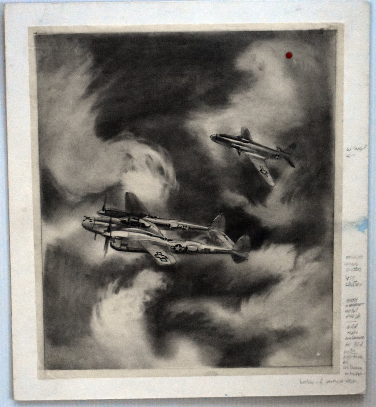 Otto Kuhni Artwork - Hand Drawing - Two Planes with Writing