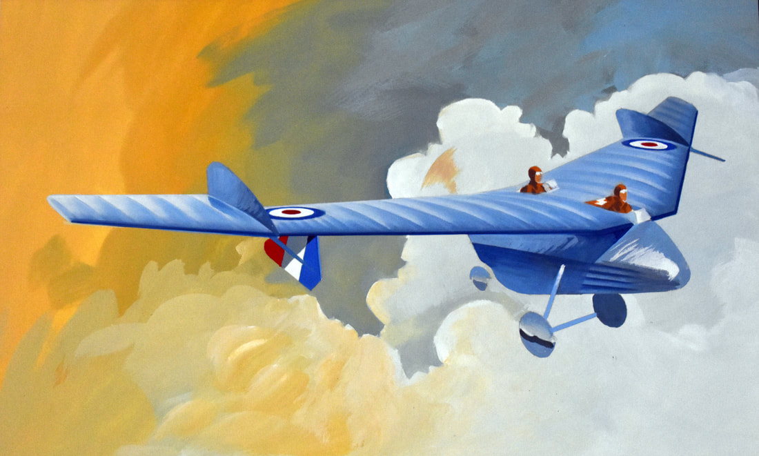 Otto Kuhni Artwork - Paintings - Blue Plane with Two Pilots