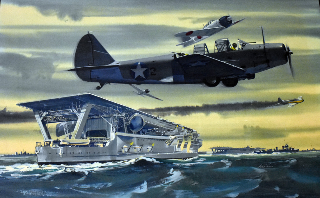 Otto Kuhni Artwork - Paintings - Planes and a Battleship