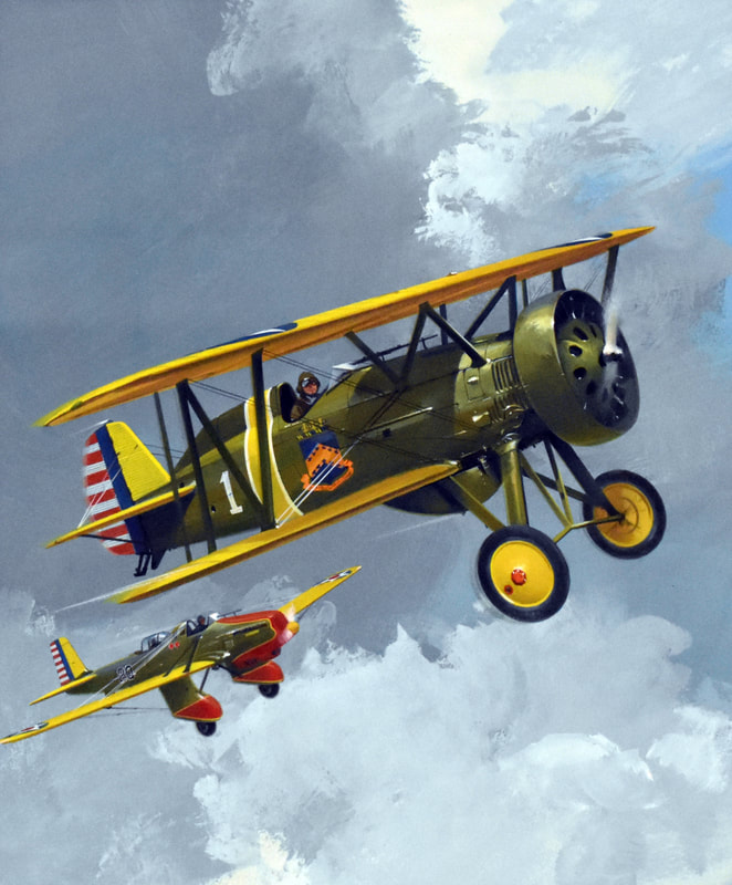 Otto Kuhni Artwork - Paintings - Two Fighter Planes