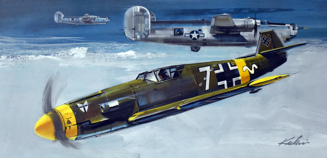 Otto Kuhni Artwork - Paintings - WWII Fighter Planes