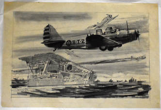 Otto Kuhni Artwork - Hand Drawings - Battleship with Three Planes
