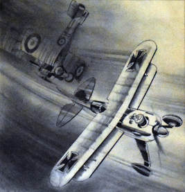 Otto Kuhni Artwork - Hand Drawings - Red Barron