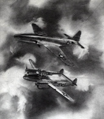 Otto Kuhni Artwork - Hand Drawings - Two Military Planes
